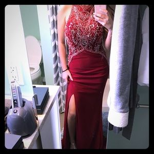 GLS FORMAL BEADED RED GOWN - XS